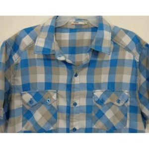 Blue Tan Plaid Short-Sleeve Button-up Soft Shirt